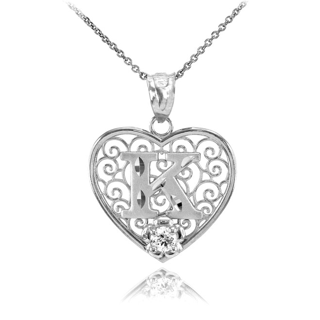 "White Gold Filigree Heart ""K"" Initial CZ Pendant Necklace"