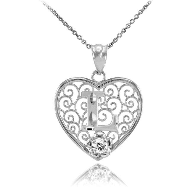 "White Gold Filigree Heart ""L"" Initial CZ Pendant Necklace"