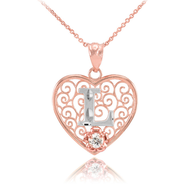 """Two Tone Rose Gold Filigree Heart """"L"""" Initial CZ Pendant Necklace"""