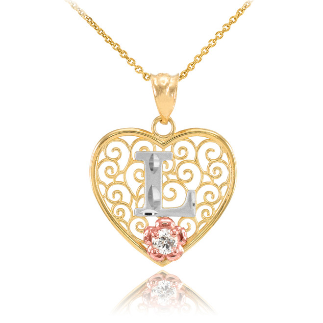 """Two Tone Yellow Gold Filigree Heart """"L"""" Initial CZ Pendant Necklace"""