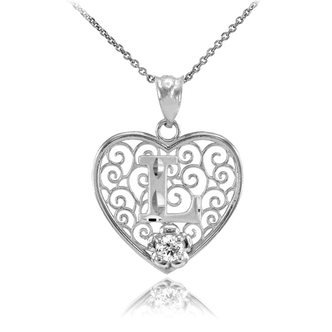 "Silver Filigree Heart ""L"" Initial CZ Pendant Necklace"