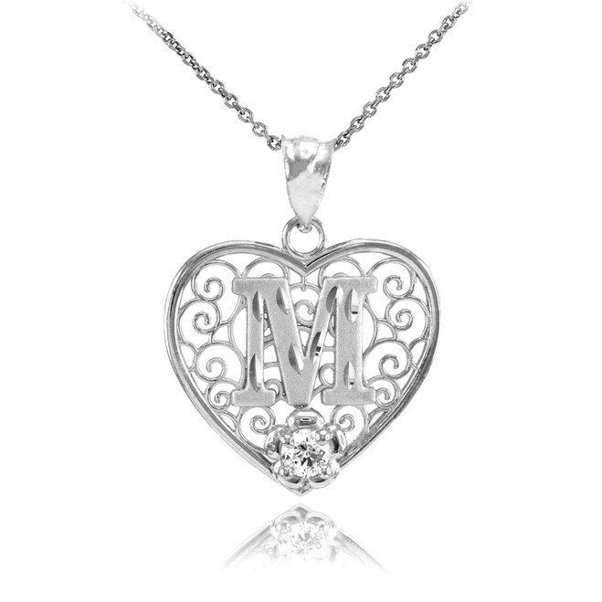 "White Gold Filigree Heart ""M"" Initial CZ Pendant Necklace"