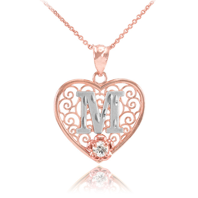 "Two Tone Rose Gold Filigree Heart ""M"" Initial CZ Pendant Necklace"