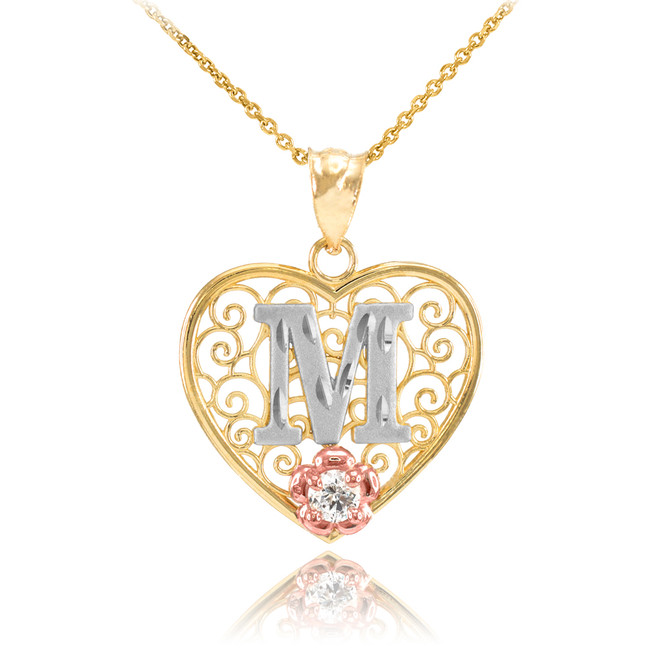 "Two Tone Yellow Gold Filigree Heart ""M"" Initial CZ Pendant Necklace"