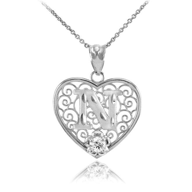 """White Gold Filigree Heart """"N"""" Initial CZ Pendant Necklace"""