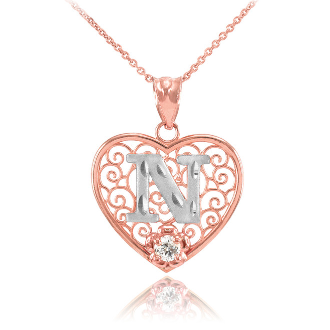 """Two Tone Rose Gold Filigree Heart """"N"""" Initial CZ Pendant Necklace"""