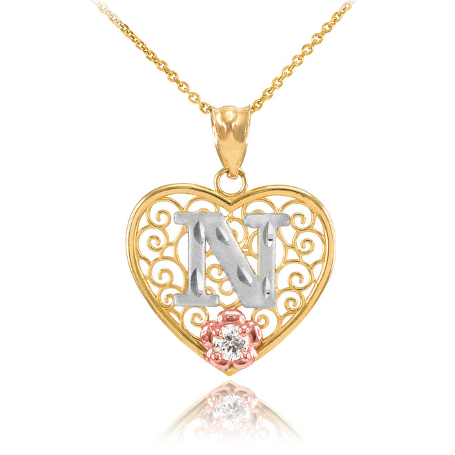 "Two Tone Yellow Gold Filigree Heart ""N"" Initial CZ Pendant Necklace"