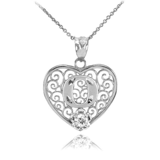 "White Gold Filigree Heart ""O"" Initial CZ Pendant Necklace"