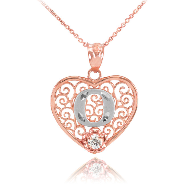 "Two Tone Rose Gold Filigree Heart ""O"" Initial CZ Pendant Necklace"