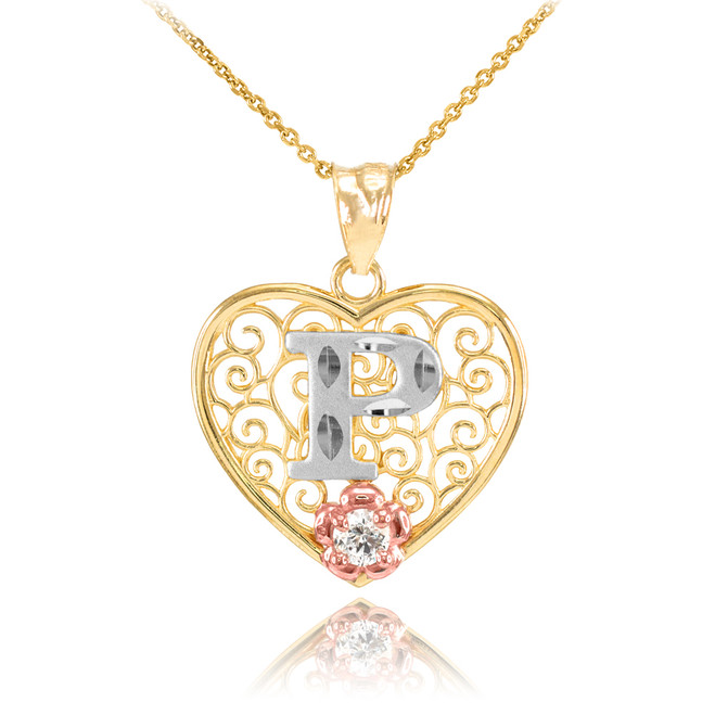 """Two Tone Yellow Gold Filigree Heart """"P"""" Initial CZ Pendant Necklace"""