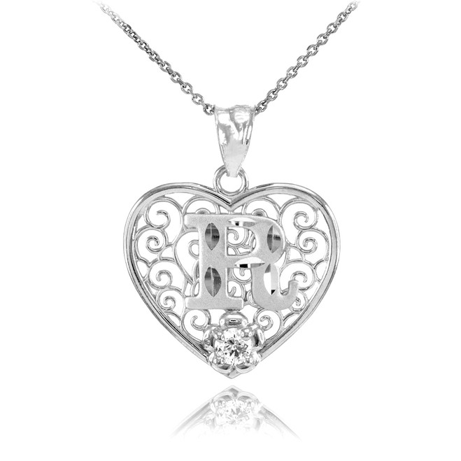 """White Gold Filigree Heart """"R"""" Initial CZ Pendant Necklace"""
