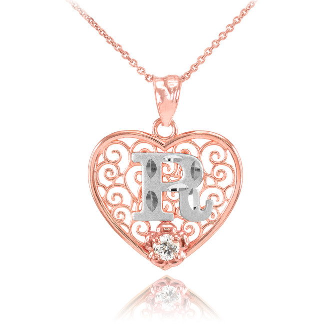 """Two Tone Rose Gold Filigree Heart """"R"""" Initial CZ Pendant Necklace"""