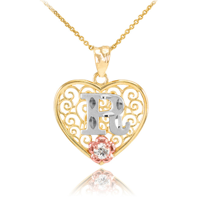 """Two Tone Yellow Gold Filigree Heart """"R"""" Initial CZ Pendant Necklace"""