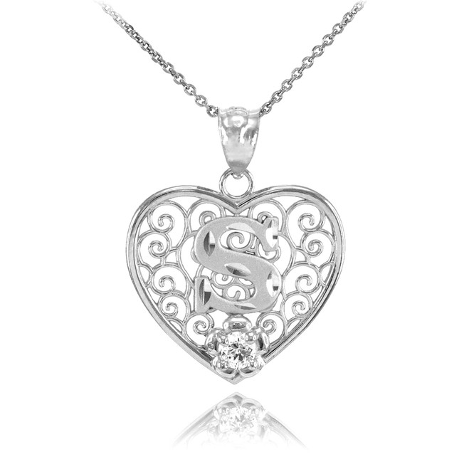 "White Gold Filigree Heart ""S"" Initial CZ Pendant Necklace"