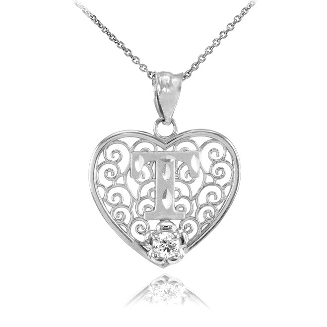 """White Gold Filigree Heart """"T"""" Initial CZ Pendant Necklace"""