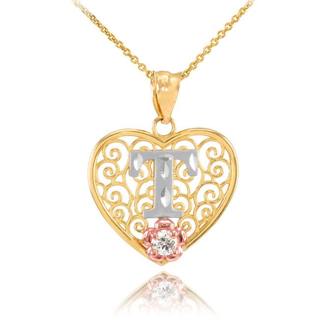 "Two Tone Yellow Gold Filigree Heart ""T"" Initial CZ Pendant Necklace"