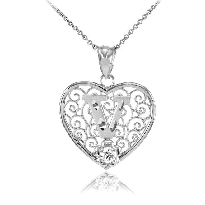 "White Gold Filigree Heart ""V"" Initial CZ Pendant Necklace"