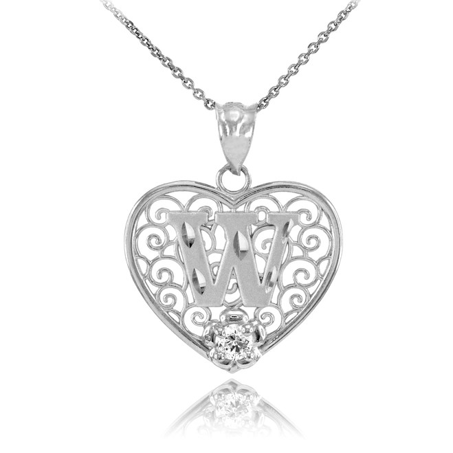 "White Gold Filigree Heart ""W"" Initial CZ Pendant Necklace"