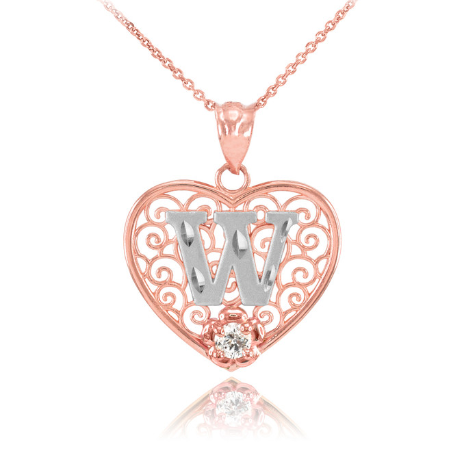 "Two Tone Rose Gold Filigree Heart ""W"" Initial CZ Pendant Necklace"