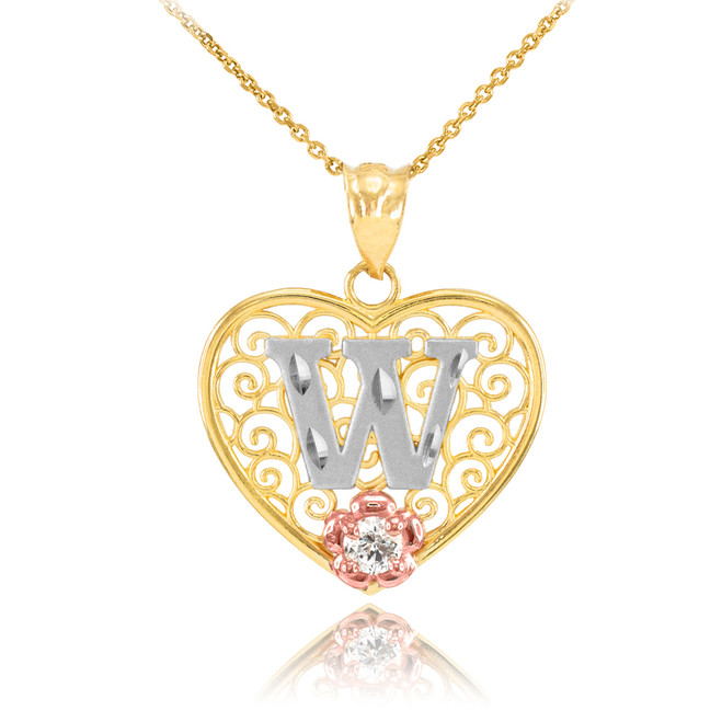 "Two Tone Yellow Gold Filigree Heart ""W"" Initial CZ Pendant Necklace"