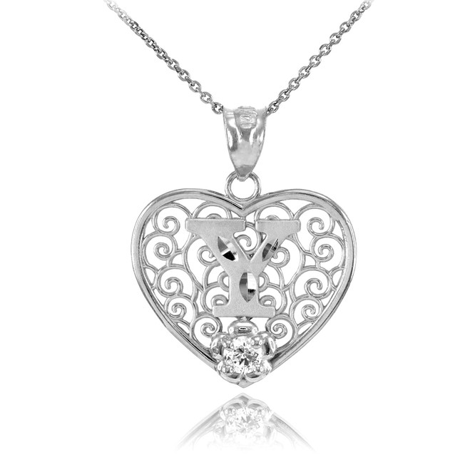 """Silver Filigree Heart """"Y"""" Initial CZ Pendant Necklace"""