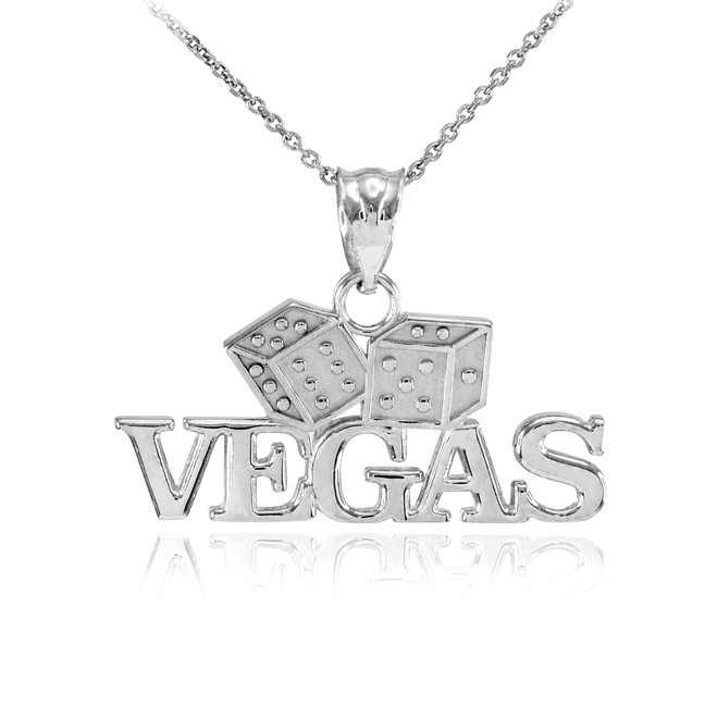 Sterling Silver VEGAS Dice Pendant Necklace