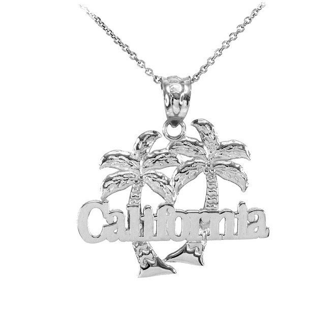 Sterling Silver California Palm Tree Pendant Necklace