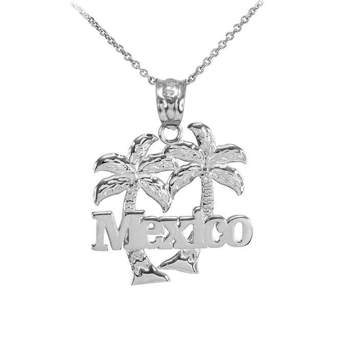 Sterling Silver Mexico Palm Tree Pendant Necklace