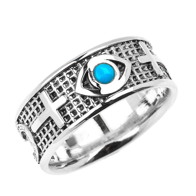 Genuine Turquoise Good Luck Evil Eye Silver Ring with Sideway Crosses on Sides