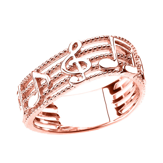 Rose Gold Treble Clef with Musical Notes Wavy Band Ring 7.5 MM