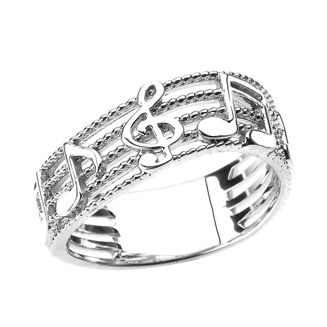 Sterling Silver Treble Clef with Musical Notes Wavy Band Ring 7.5 MM