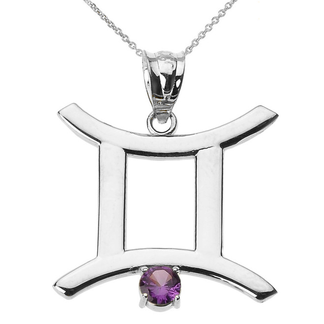 White Gold Gemini Zodiac Sign June Birthstone Pendant Necklace