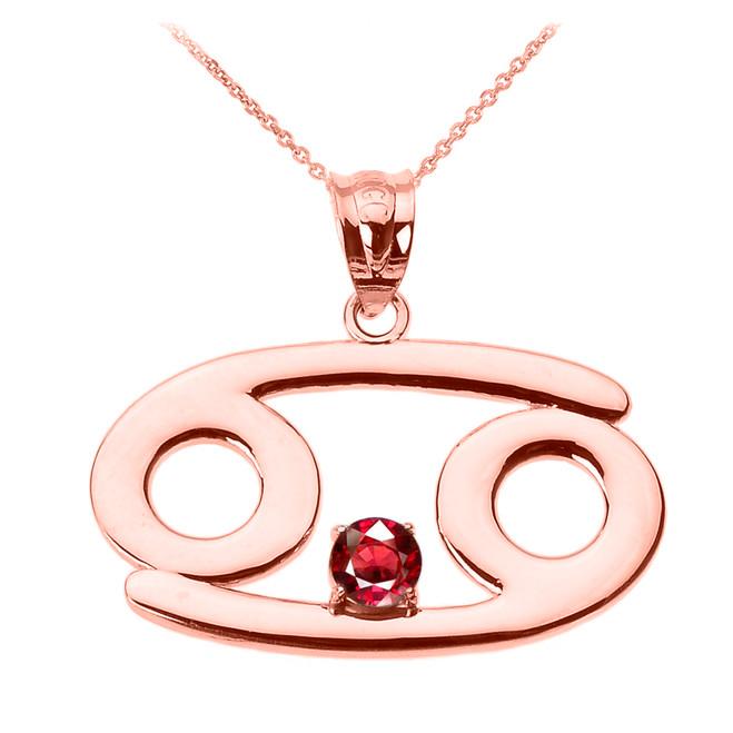 Rose Gold Cancer Zodiac Sign July Birthstone Pendant Necklace