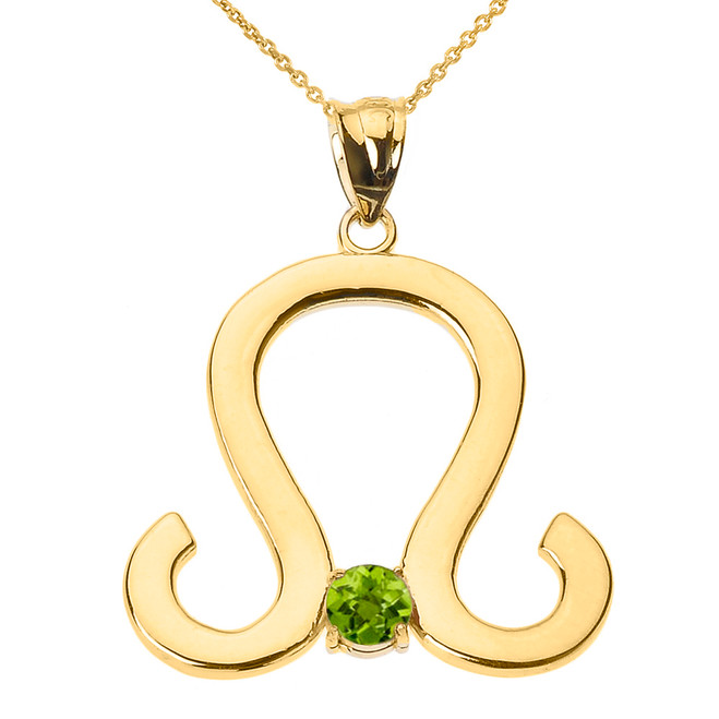 Yellow Gold Leo Zodiac Sign August Birthstone Pendant Necklace