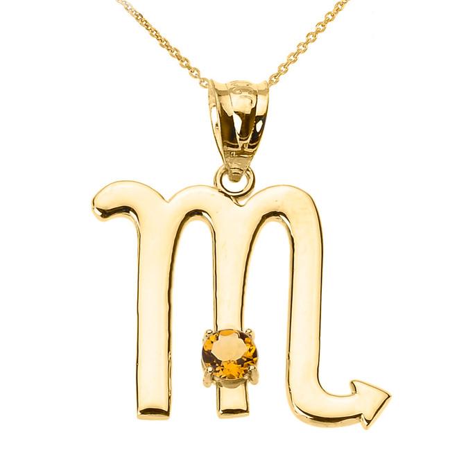 Yellow Gold Scorpio Zodiac Sign November Birthstone Pendant Necklace