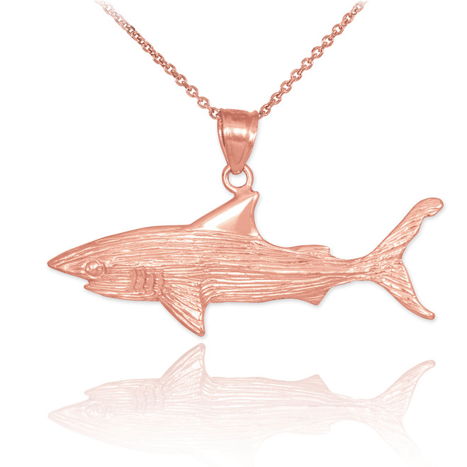 Rose Gold Shark Textured Pendant Necklace