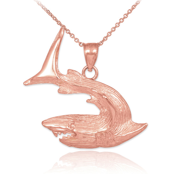 Textured Rose Gold Shark Pendant Necklace
