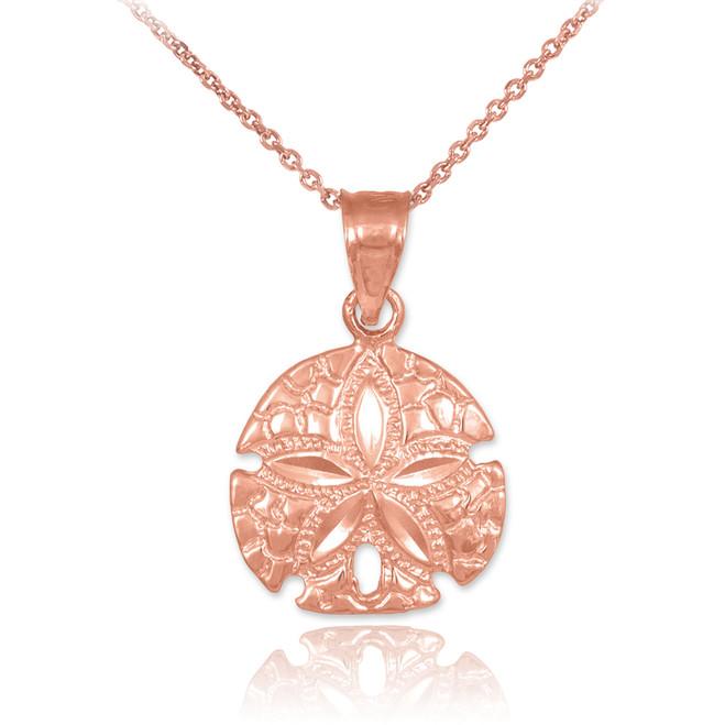 Polished Rose Gold Sand Dollar Charm Pendant Necklace