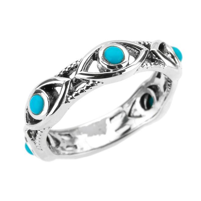 Sterling Silver Milgrain Turquoise Evil Eye Good Luck Ring