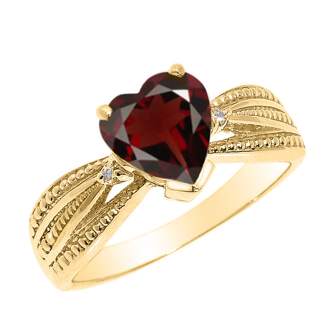 Beautiful Yellow Gold Garnet and Diamond Proposal Ring