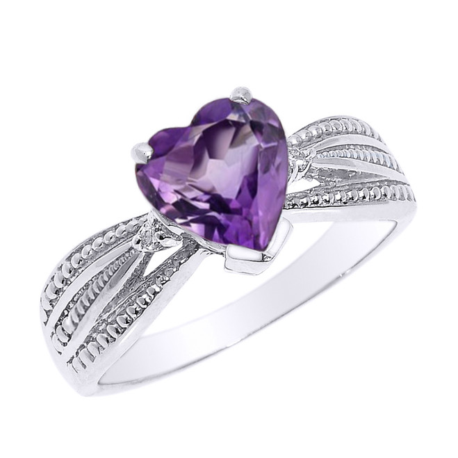 Beautiful White Gold Amethyst and Diamond Proposal Ring