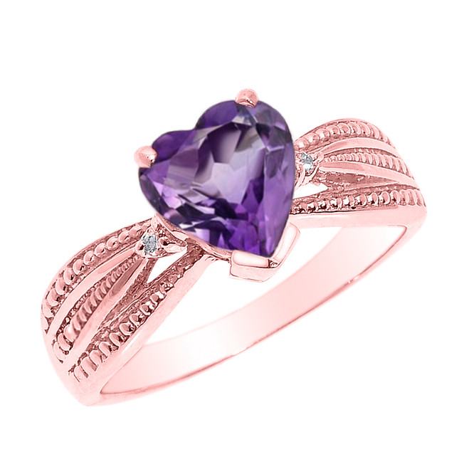 Beautiful Rose Gold Amethyst and Diamond Proposal Ring