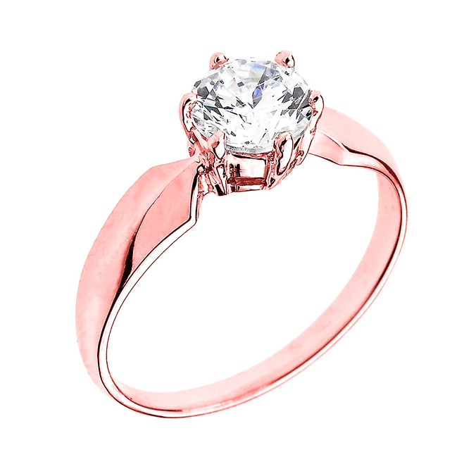 Rose Gold Chevron Band 1.60 ct Cubic Zirconia Dainty Solitaire Engagement Ring