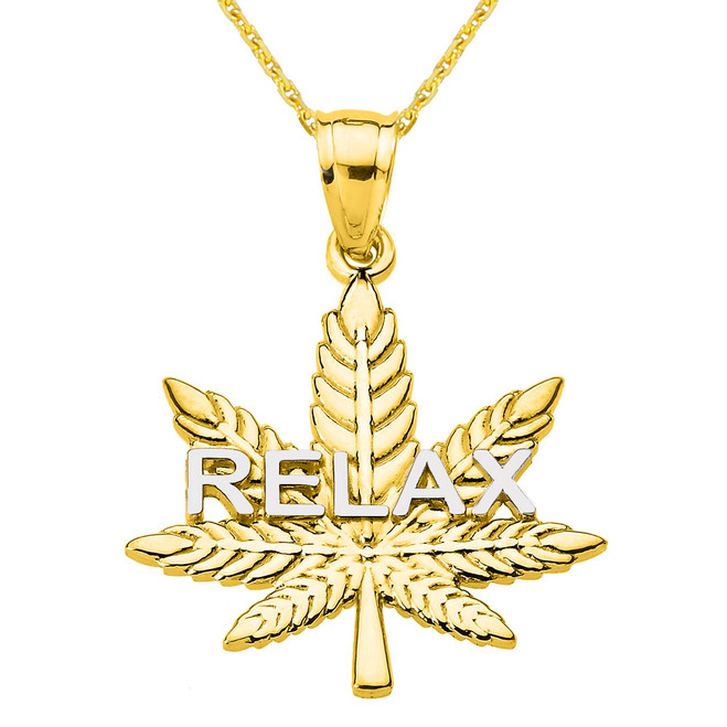 "Yellow Gold Marijuana Cannabis Leaf ""RELAX"" Script Pendant Necklace"