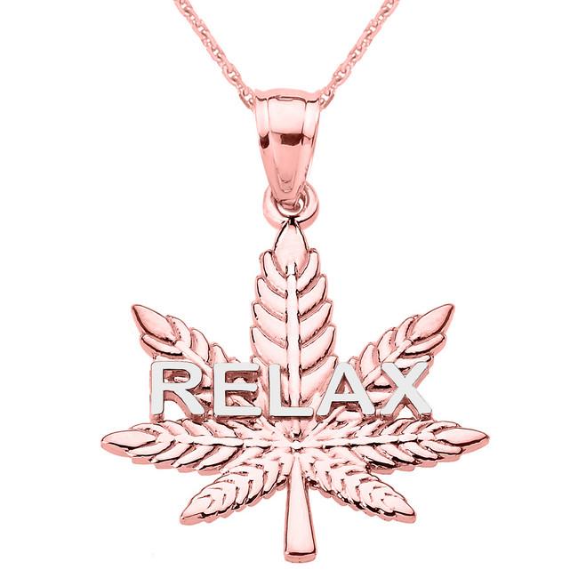 "Rose Gold Marijuana Cannabis Leaf ""RELAX"" Script Pendant Necklace"