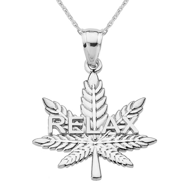 "Sterling Silver Marijuana Cannabis Leaf ""RELAX"" Script Pendant Necklace"