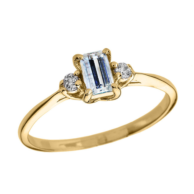 Yellow Gold Diamond and Aquamarine Proposal and Birthstone Ring