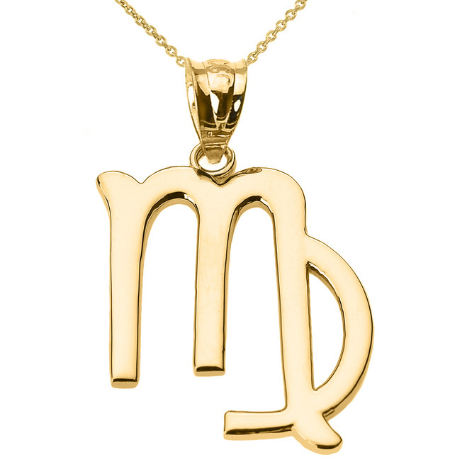 Yellow Gold Virgo September Zodiac Sign Pendant Necklace
