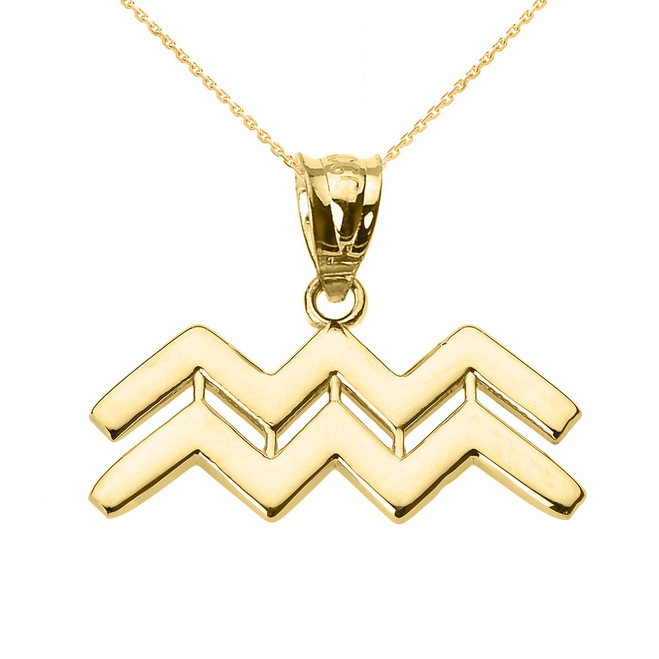 Yellow Gold Aquarius February Zodiac Sign Pendant Necklace