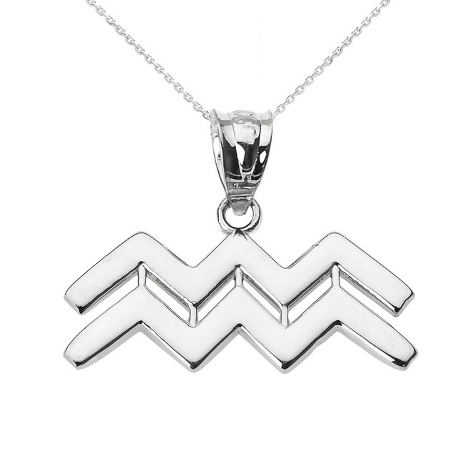 White Gold Aquarius February Zodiac Sign Pendant Necklace